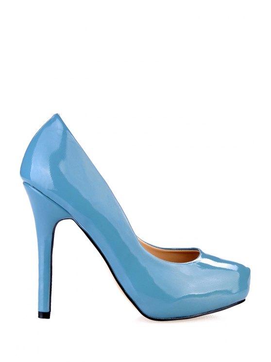 ladies Patent Leather Stiletto Heel Pumps - AZURE 35