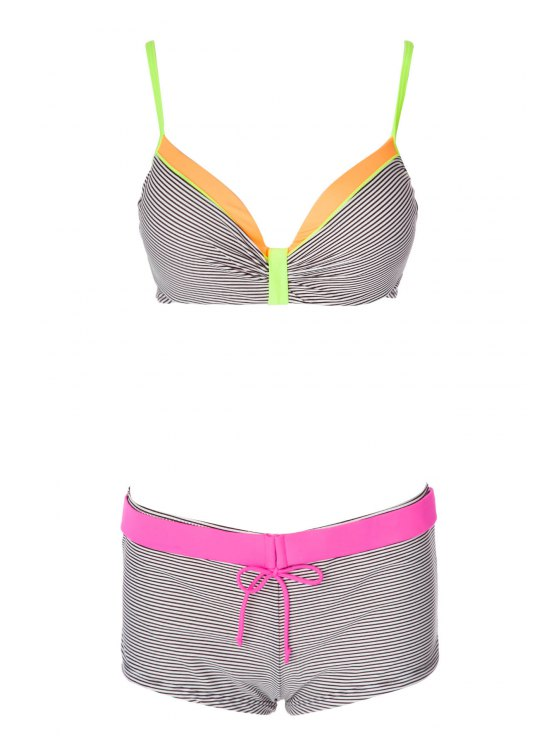 lady Stripe Color Block Tie-Up Bikini Set - GRAY S