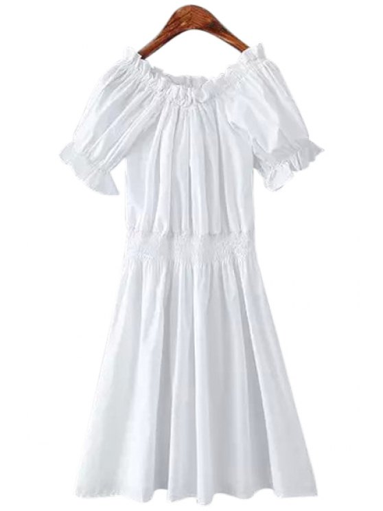 ladies Short Sleeve Solid Color A-Line Dress - WHITE ONE SIZE(FIT SIZE XS TO M)