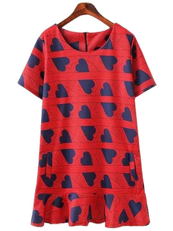 online Heart Print Ruffles Short Sleeve Dress - RED S