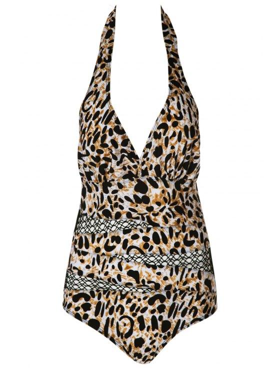 fancy Halter Leopard Pattern Mesh Swimwear - LEOPARD M