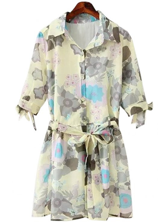 outfit Floral Half Sleeve Self-Tie Dress - BEIGE S