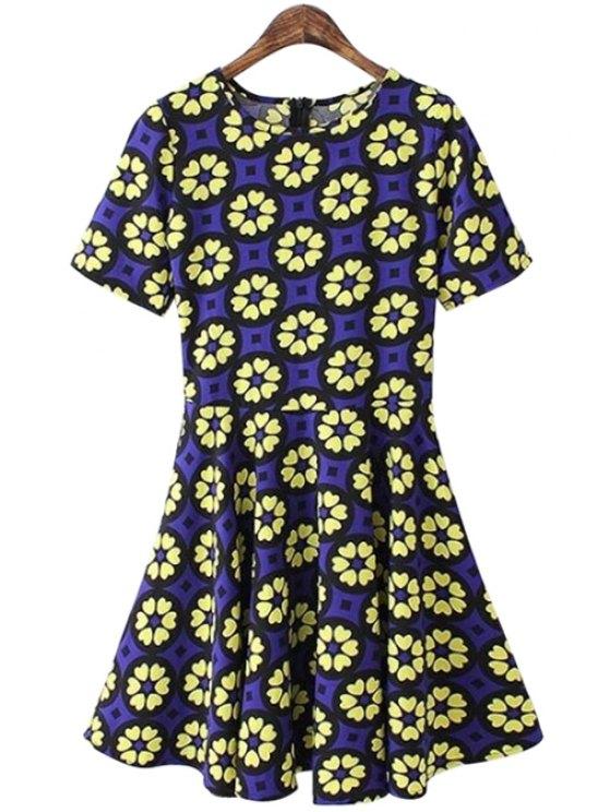 fashion Geometric Pattern Short Sleeve Dress - BLUE S