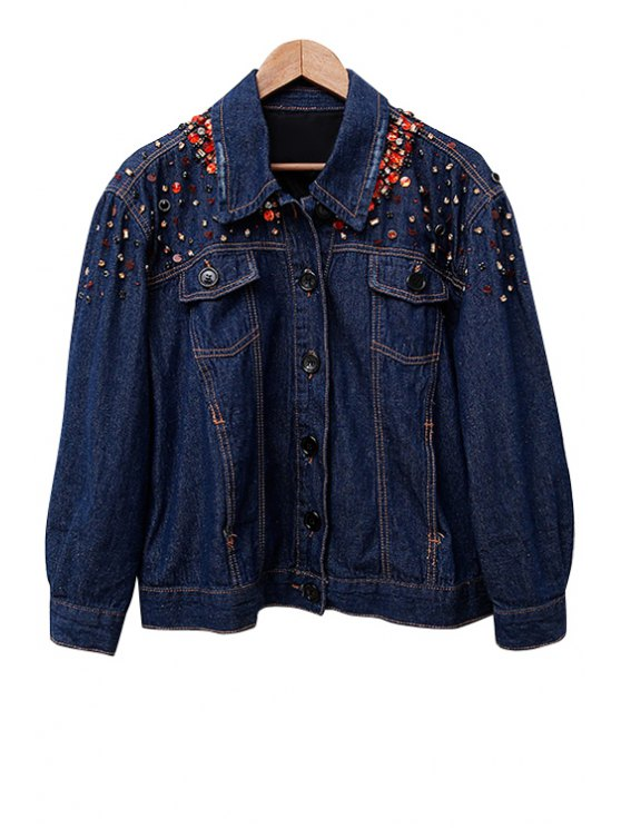 sale Rhinestoned Denim Long Sleeve Coat - PURPLISH BLUE S