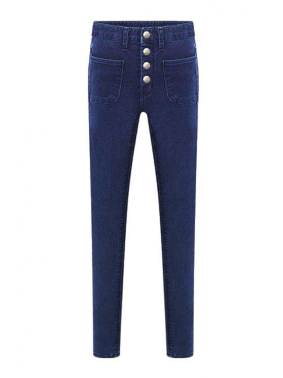 lady Bleach Wash Four Buttons High Waist Jeans - DEEP BLUE XS
