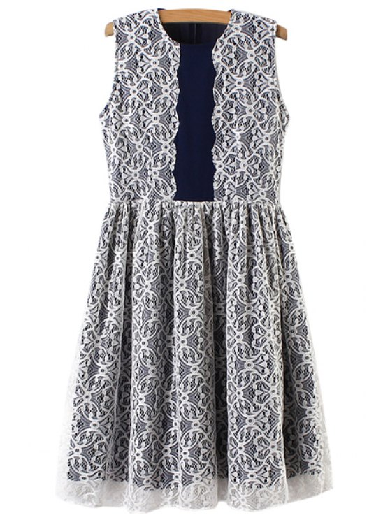 womens Sleeveless Lace Spliced Dress - BLUE AND WHITE S