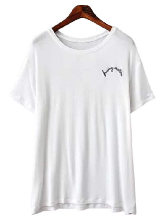womens Letter Embroidery Short Sleeves T-Shirt - WHITE ONE SIZE(FIT SIZE XS TO M)