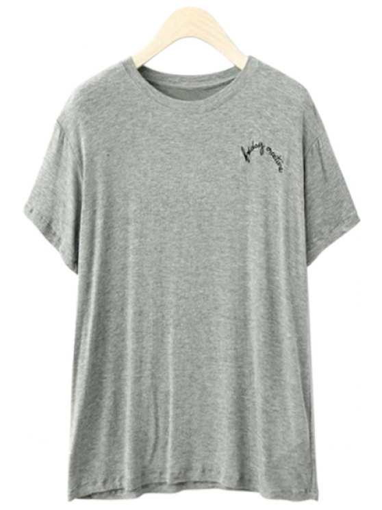 women Letter Embroidery Short Sleeves T-Shirt - GRAY ONE SIZE(FIT SIZE XS TO M)