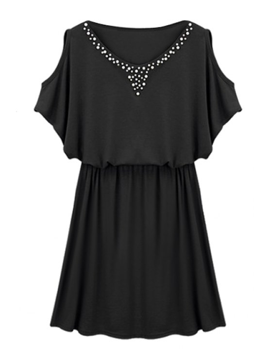 hot Faux Pearl Bead Off-The-Shoulder Dress - BLACK M