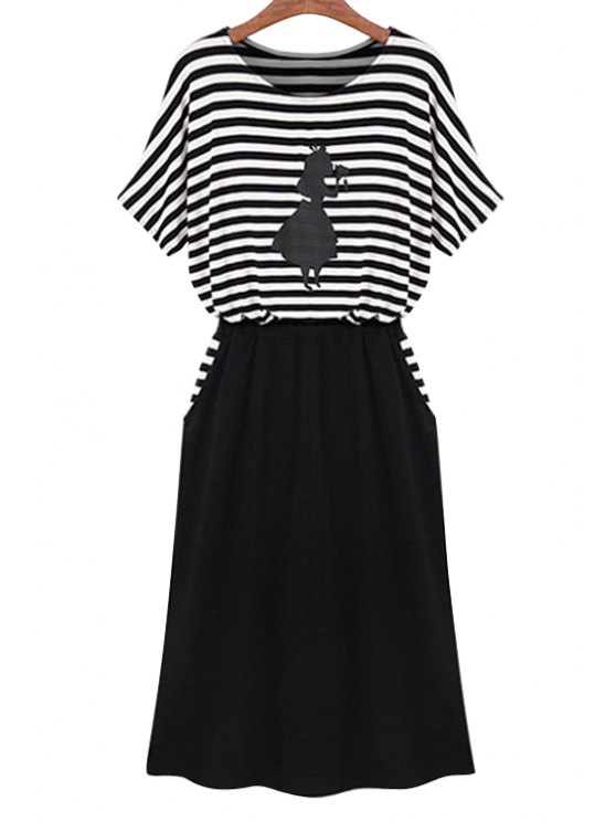 fancy Stripe Figure Print Splicing Dress - WHITE AND BLACK S