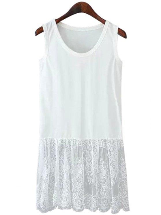 fashion Lace Spliced Scoop Neck Sundress - WHITE M