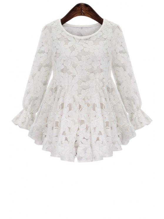 women's Floral Pattern Ruffle Lace Long Sleeve Shirt - WHITE S