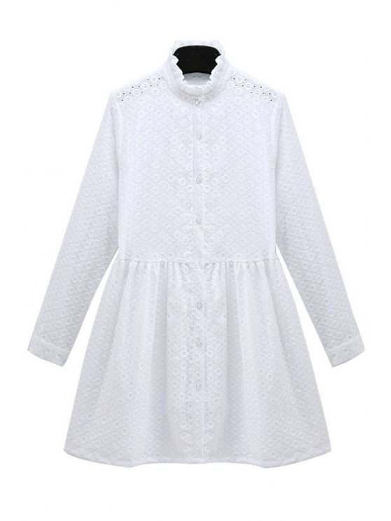 best Solid Color Embroidery Long Sleeve Dress - WHITE S