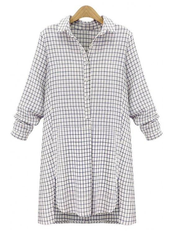 latest Plaid Slit Long Sleeve Dress - OFF-WHITE S