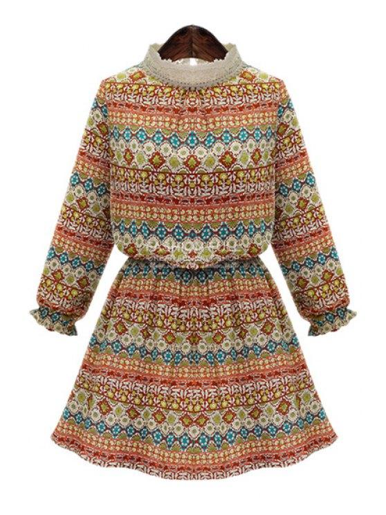 hot Print Lace Splicing Long Sleeve Dress - ORANGE S