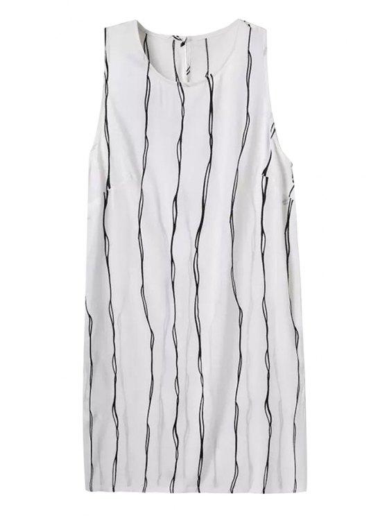 women Striped Jewel Neck Sleeveless Dress - STRIPE S
