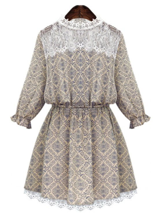 buy Round Neck Print Lace Splicing Dress - BEIGE S