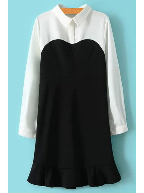 latest Color Block Turn-Down Collar Dress - WHITE AND BLACK M