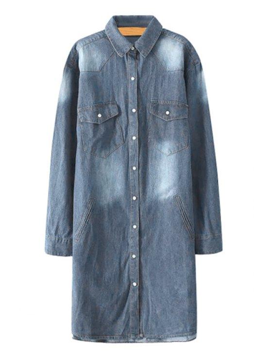 chic Denim Long Sleeve Single-Breasted Shirt - LIGHT BLUE M