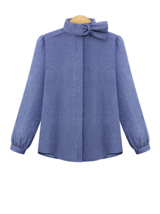 women's Stripe Ruffle Long Sleeve Shirt - LIGHT BLUE M