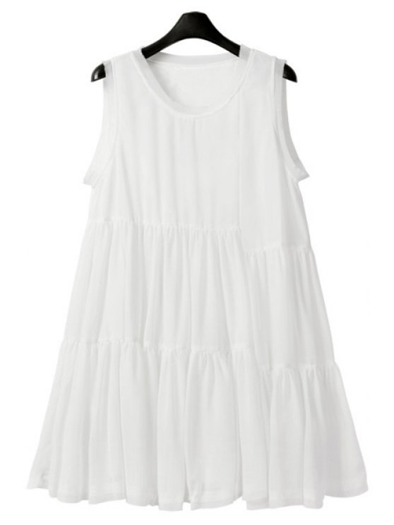 lady Ruffle Solid Color Sleeveless Dress - WHITE S