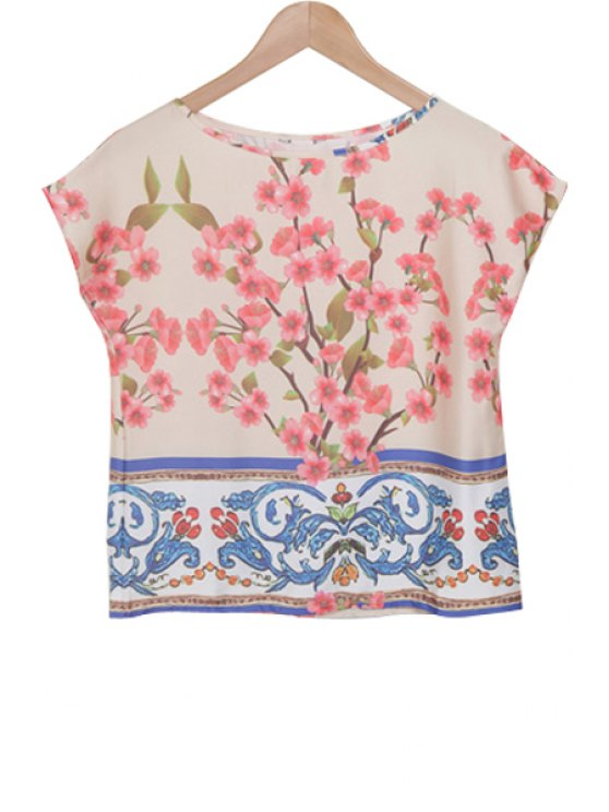 outfit Peach Blossom Print Short Sleeve T-Shirt - BLUE AND PINK S