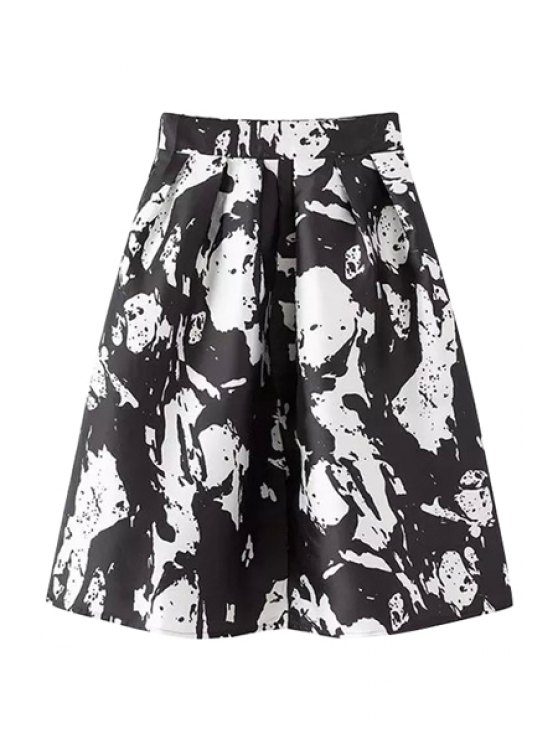 chic Print High Waisted A-Line Skirt - WHITE S