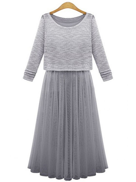 chic Scoop Neck Sweater + Voile Splicing Sleeveless Dress - GRAY ONE SIZE(FIT SIZE XS TO M)