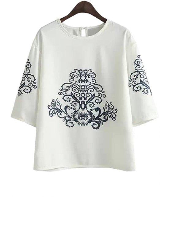 womens Ethnic Print Half Sleeve Chiffon T-Shirt - WHITE S
