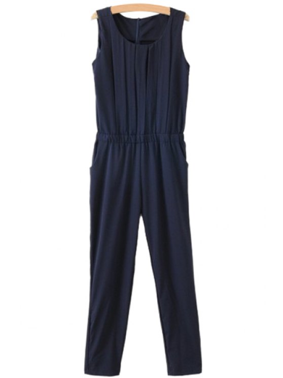 unique Solid Color Ruffle Sleeveless Jumpsuit - CADETBLUE S