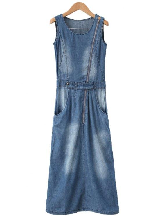 trendy Zipper Embellished Bleach Wash Slit Dress - BLUE S