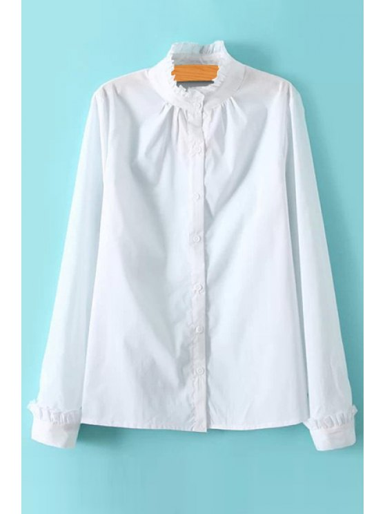 sale Flounce Splicing Solid Color Long Sleeve Shirt - WHITE M