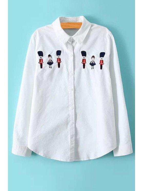 buy Cartoon Embroidery Long Sleeve Shirt - WHITE M