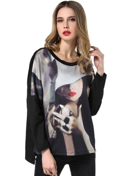 women's Scoop Neck Figure Print T-Shirt - BLACK L