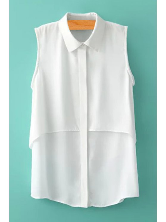 affordable White Sleeveless Chiffon Shirt - WHITE S