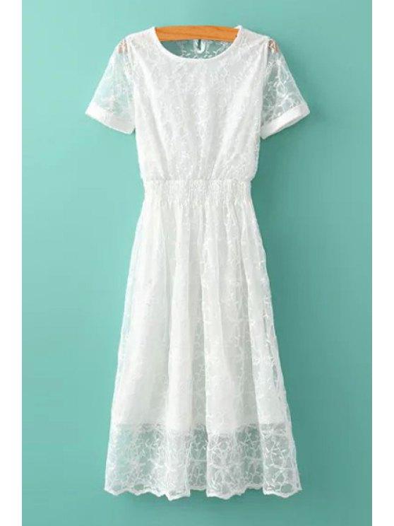 latest White Lace Short Sleeves Dress - WHITE S