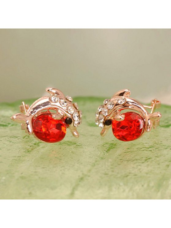 unique Pair of Chic Rhinestone Dolphin Earrings For Women - RED