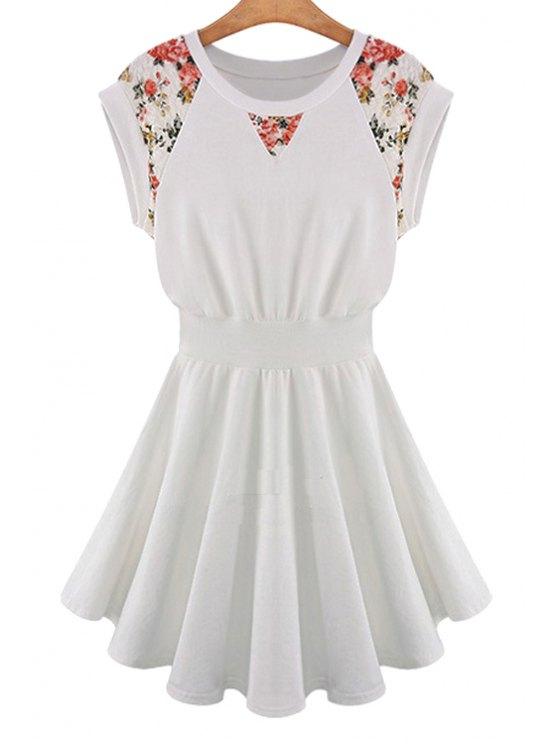 new Floral Print Elastic Waist Short Sleeve Dress - OFF-WHITE S