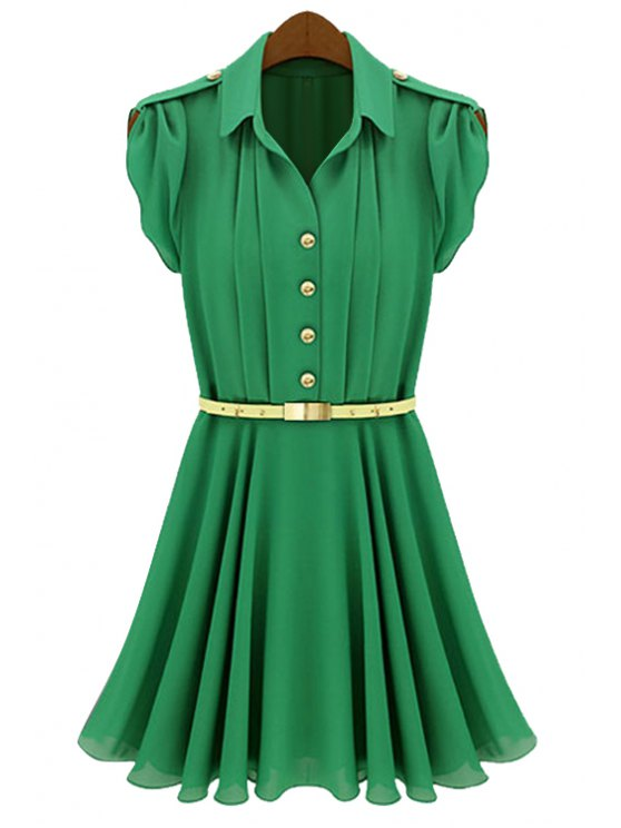 fashion Solid Color Belt Pleated Short Sleeve Dress - GREEN S