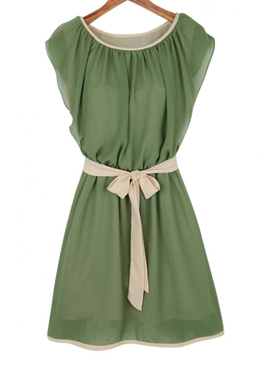 women Ruffle Tie-Up Short Sleeve Dress - ARMY GREEN S