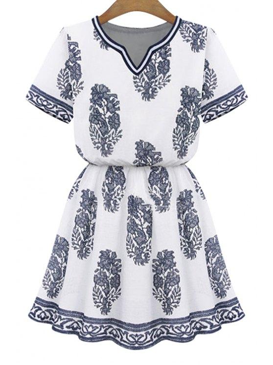 sale V-Neck Print Short Sleeve Dress - WHITE S