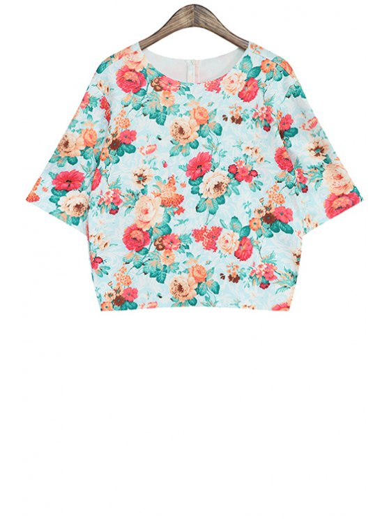 shop Short Sleeve Full Floral T-Shirt - RED ONE SIZE(FIT SIZE XS TO M)