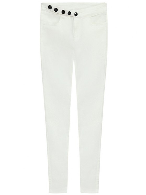 shop Solid Color Single-Breasted Pants - WHITE S