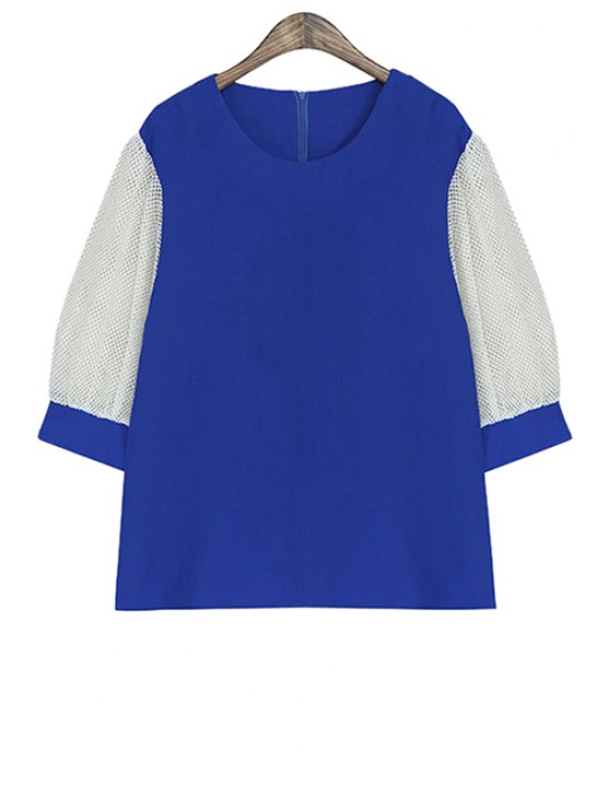 women Color Block Half Sleeve Blouse - BLUE ONE SIZE(FIT SIZE XS TO M)