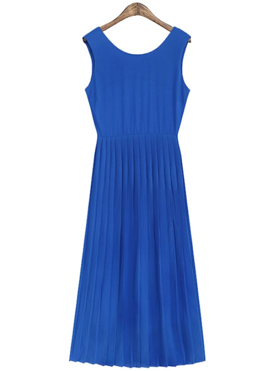 womens Solid Color Pleated Sundress - BLUE ONE SIZE(FIT SIZE XS TO M)