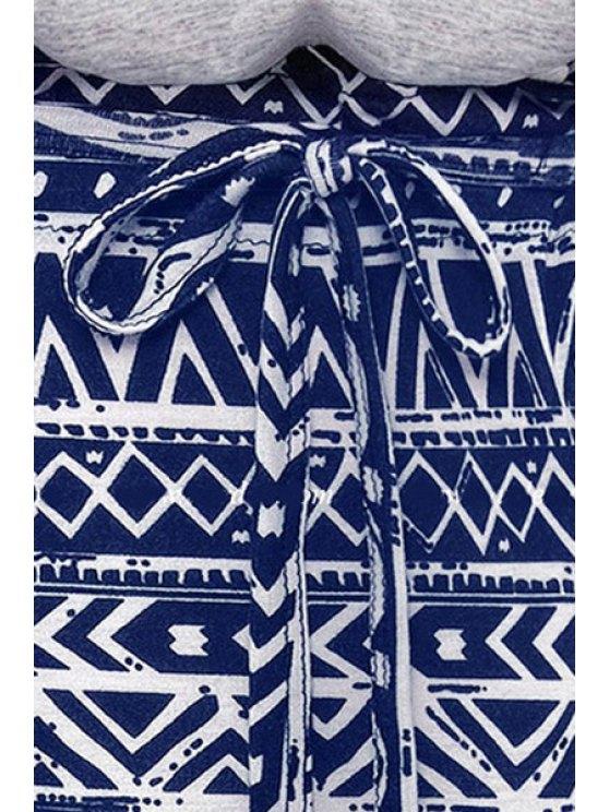 Blue Geometric Print Short Sleeve Dress - PURPLISH BLUE S Mobile