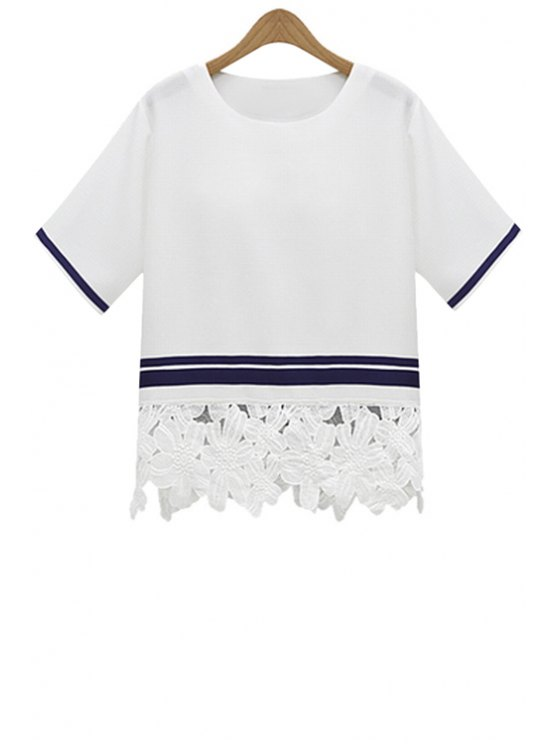 sale Stripe Lace Splicing Short Sleeve T-Shirt - WHITE S