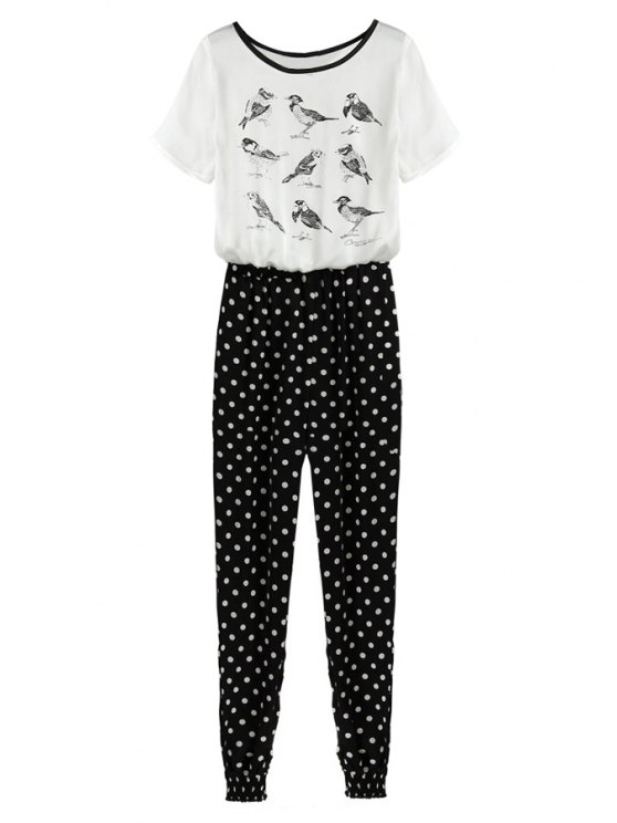 fancy Birds Print Polka Dot Jumpsuit - WHITE AND BLACK S