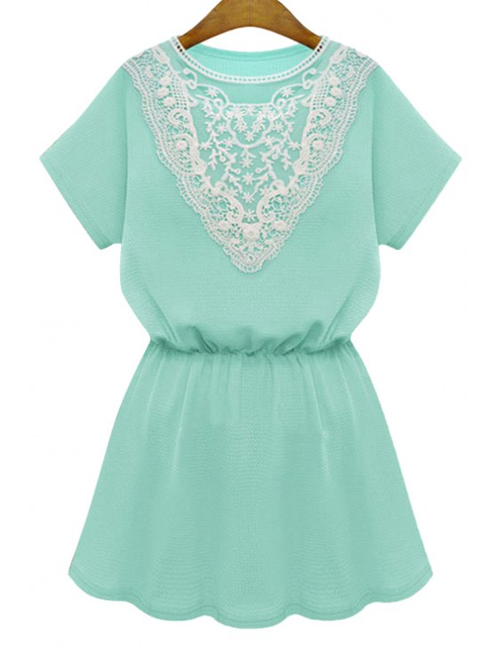 affordable Lace Splicing Elastic Short Sleeve Dress - GREEN S