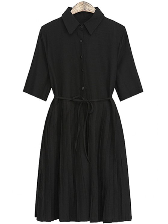 trendy Solid Color Pleated Short Sleeve Dress - BLACK ONE SIZE(FIT SIZE XS TO M)